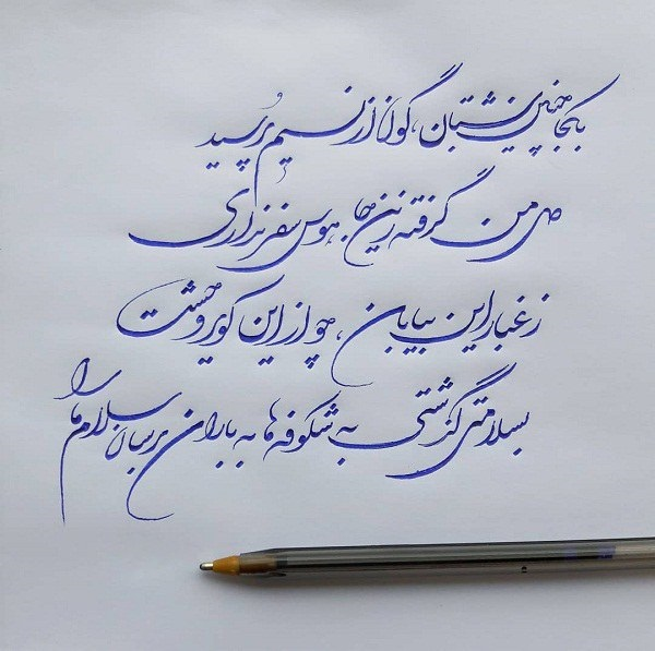 خوشنویسی با خودکار نسب به خوشنویسی با قلم کاربردیتر است