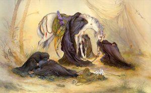 نقاشی ایرانی مینیاتور بهنام عصر عاشورا اثر استاد محمود فرشچیان