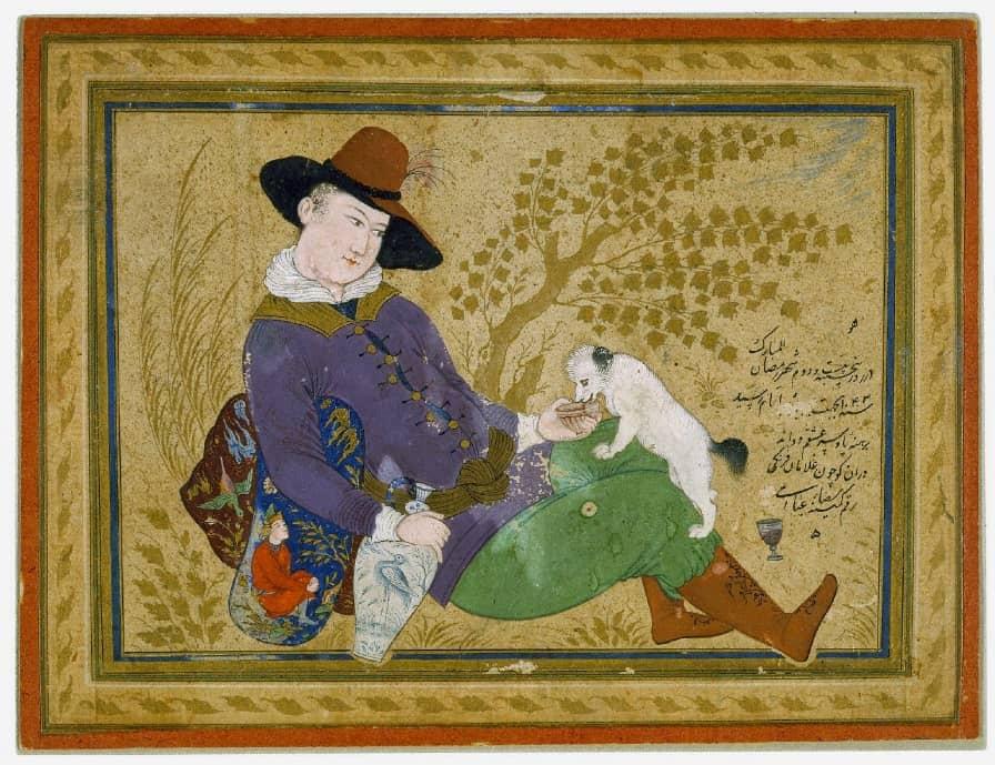 نمونه یک نقاشی مینیاتور ایرانی به سبک رنگی توسط رضا عباسی